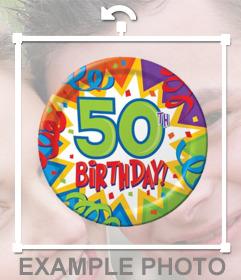 Foto efecto para decorar tus fotos con un globo de fiesta de 50 años