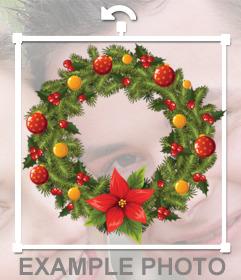 Sticker de guirnalda circular de Navidad para tus fotos