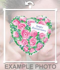 Globo en forma de corazon y con rosas y la frase HAPPY ANNIVERSARY para tus fotos