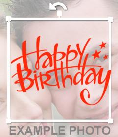 Firma para decorar tus fotos con el texto HAPPY BIRTHDAY