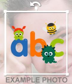 Sticker para decorar las fotos de los niños con el ABC