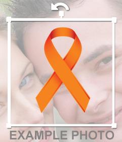 Lazo naranja en apoyo a la lucha contra la leucemia para poner en tus fotos