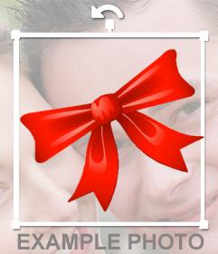 Sticker de un lazo rojo de Navidad para poner en tus fotos