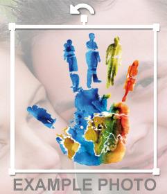 Sticker de una mano en apoyo a los Derechos Humanos