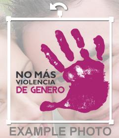 Sticker de una mano violeta contra la violencia de género