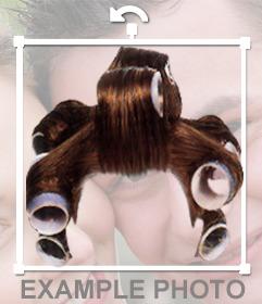 Montaje para fotos de peluca de rulos para poner en tus fotos