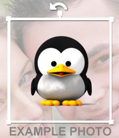 Pegatina de un tierno pinguino para añadir en tus fotos favoritas