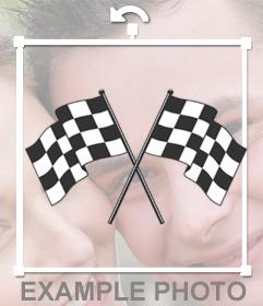 Stickers de dos banderas de carrera para tus fotos