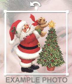 Sticker de Papa Noel con un árbol de Navidad para tus fotos