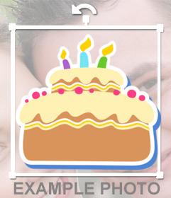 Sticker de una torta de cumpleaños para poner en tus fotos