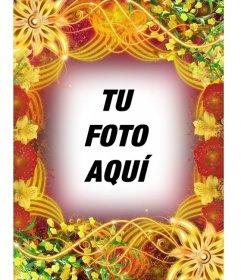 Marco de fotos estilo veraniego con flores donde podrás poner tu foto en el fondo