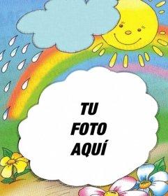 Marco para fotos con fondo del sol saliendo de una nube y un arco iris, donde puede poner tu foto