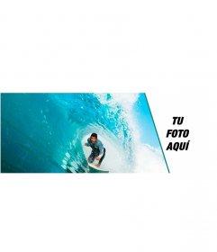 Portada de Facebook personalizable con un chico haciendo surf