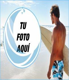 Collage con tu foto y un surfero en la playa