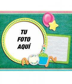 Tarjeta de cumpleaños verde para poner tu foto