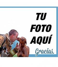 Bonita tarjeta de agradecimiento con un bombero habiendo salvado a un perrito