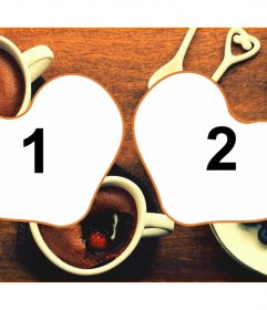 Tarjeta para dos fotos con desayuno romántico