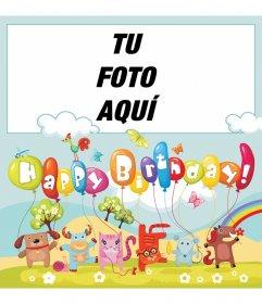 Tarjeta colorida llena de animalitos y globos para desear feliz cumpleaños