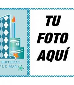 Celebra el primer año de tu niño con esta tarjeta para una foto