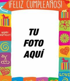 Tarjeta de cumpleaños con marco de colores y dibujos para personalizar las fotos de tus amigos y familiares el día de su cumple
