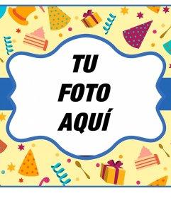 Postal colorida online para felicitar un cumpleaños y poner tu foto