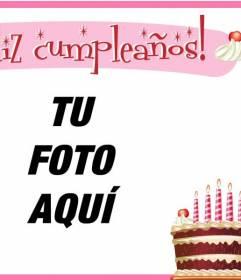 Tarjeta de cumple con marco rosado y una torta de chocolate con velas rosas para poner una imagen en el fondo