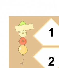 Tarjeta con pajarillos de colores sobre un globo con espacio para dos fotos