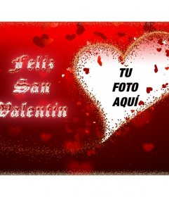 Tarjeta Feliz San Valentín con tu foto en un corazón