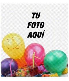 Tarjeta de fiesta de cumpleaños con un filtro tipo cómic y unos globos para poner la imagen detrás y felicitar a quien quieras