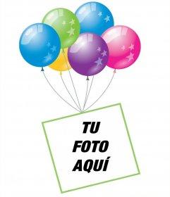 Foto efecto con globos y un marco flotando para añadir tu foto