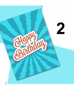 Celebra tu cumpleaños con esta original tarjeta para editar con dos fotos