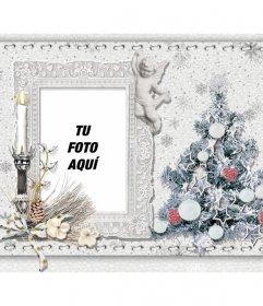 Tarjeta de Navidad para personalizar con tu foto, un árbol y una vela