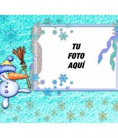 Tarjeta de Navidad con un divertido muñeco de nieve