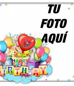 Colorida y alegre tarjeta para celebrar un Feliz Cumpleaños