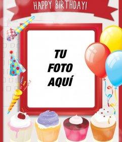 Postal de cumpleaños con tartas dulces y decoración festiva con globos y un marco rojo para poner una foto