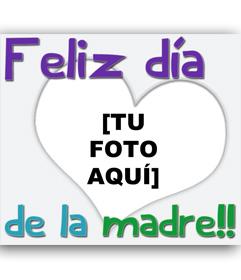 Tarjeta para felicitar a mamá con un corazón transparente y el texto de feliz día de la madre