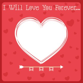 Tarjeta de amor con el texto te amaré para siempre