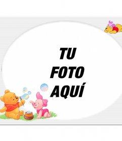 Marco para fotos con adorno de ositos jugando para crear online