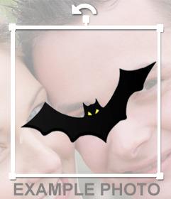 Fotomontaje para decorar tu foto con un murciélago volando