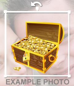 Sticker de un cofre de tesoro para pegar en tus fotos gratis