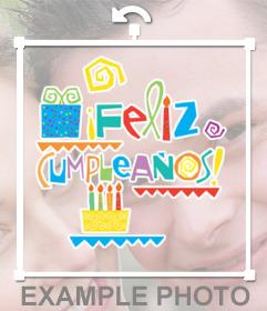 Texto de Feliz cumpleaños  con dibujos de tartas de cumpleaños