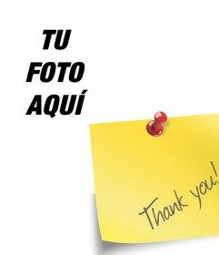 Fotomontaje con una nota de Thank You donde puedes añadir tu foto