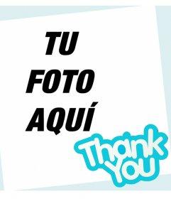 Tarjeta para decir THANK YOU y editar con una foto online