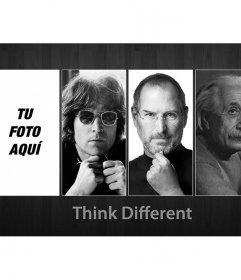 Fotomontaje junto a John Lennon, Steve Jobs y Albert einstein. Think different