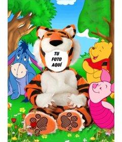 Disfraz virtual para niños de tigre que puedes editar con tu foto