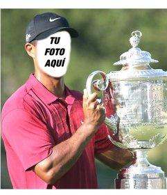 Plantilla de Tiger Woods levantando una copa para editar y poner una cara