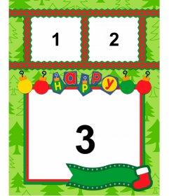 Fotomontaje para 3 fotos de Navidad con texto y abetos