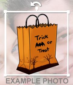 Pegatina de una bolsa de cartón de Halloween