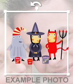 Pegatina con tres niños disfrazados