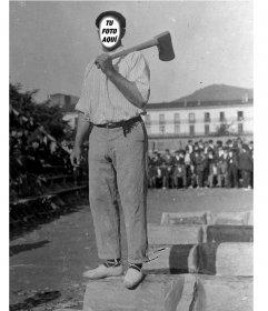 Foto montaje antiguo de un trabajador posando donde le podrás cambiar la cara